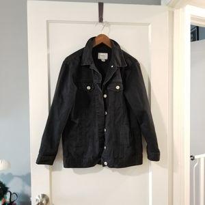 F21 Oversized Black Denim Jacket size S